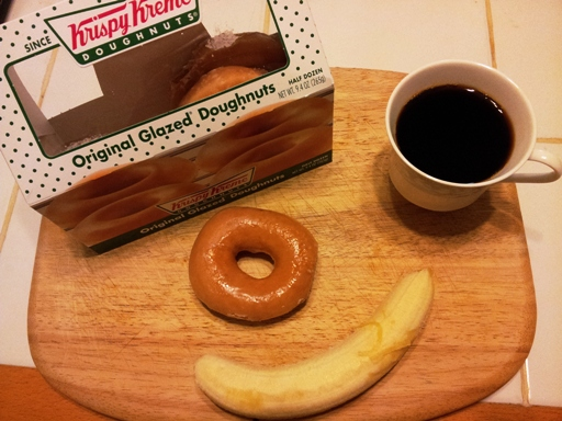 perfect combo: donuts, coffee & banana