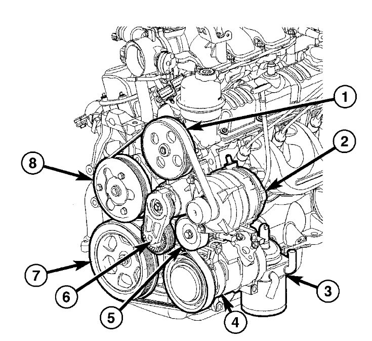 2005 Chrysler Pacifica V6 3.8L Serpentine Belt Diagram