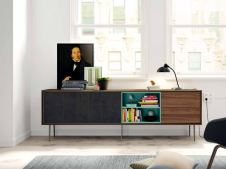 Mueble auxiliar patas metal madera natural y laca