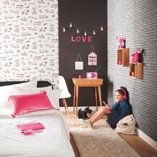 Papeles pintados dormitorios chicas fucsia y negro