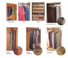 Accesorios para interiores de armario, barras elevadoras, corbateros, cinturoneros, pantaloneros, cajoneras