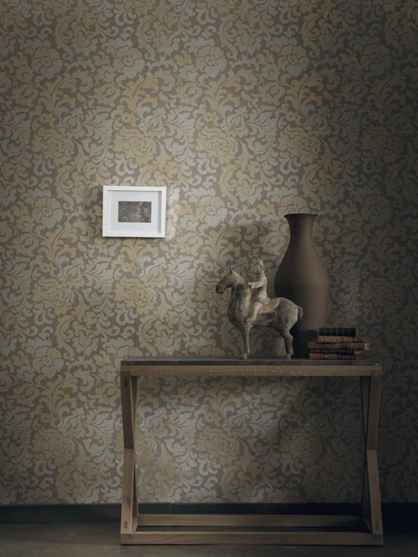 Papel pintado arabesque cobrizos y dorados floral PlaceVendome Casamance