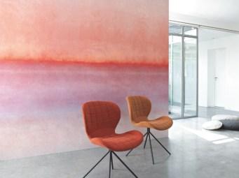 Papel pintado mural pintura acuarelada tonos rojizos