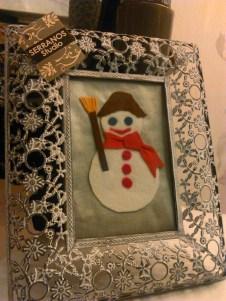 Portafotos plata blanco nieve Navidad