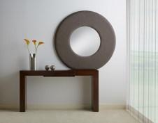 Mueble entrada minimalista madera recto espejo redondo ARACOELI