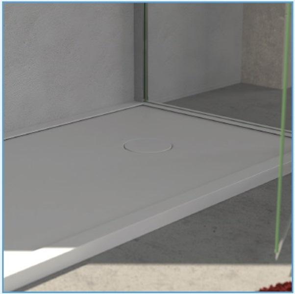 Plato de ducha Durstone antideslizante extraplano rectangular blanco