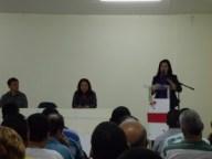 Prefeita em exercicio Madalena Santana, fala aos alunos cursos SETER