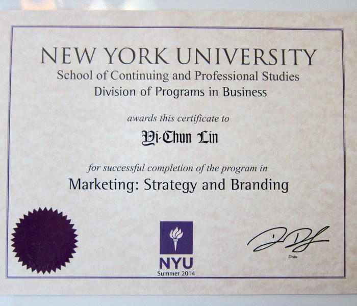 Marketing Certificate in Strategy & Branding