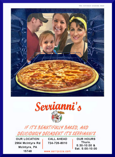Graphic showing the Serrianni family members looking into an oven with a pizza inside and smiling along with their logo and some business information below