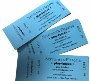 Three blue Serrianni's Pizzeria Play4Pizza game tickets