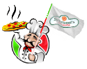 a small image of an italian chef holding up a pizza and holding a flag with the serrianni's logo in the center