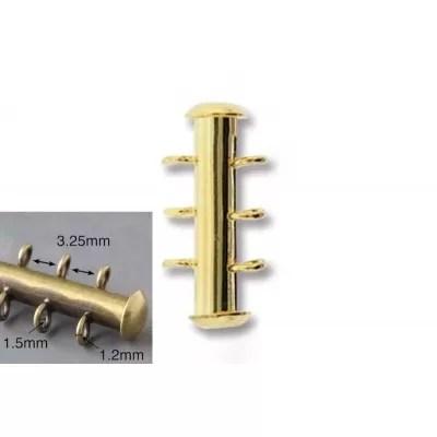 Inchizatoare Slide 16mm cu 3 bucle verticale, placata cu aur