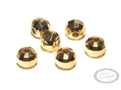 Margea metalica ornamentala fatetata, 6mm, placata cu aur