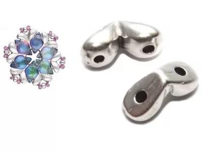 MITAKAS - terminatie speciala pentru GemDuo, placata cu argint antichizat, 2 buc.