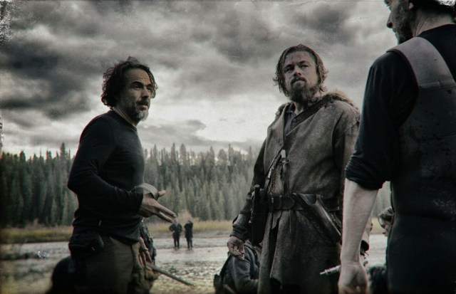 "THE REVENANT Renowned filmmaker Alejandro González Iñárritu (""Birdman,"" ""Babel"") directs Leonardo DiCaprio on the set of THE REVENANT. Photo credit: Kimberley French Copyright © 2015 Twentieth Century Fox Film Corporation. All rights reserved. THE REVENANT Motion Picture Copyright © 2015 Regency Entertainment (USA), Inc. and Monarchy Enterprises S.a.r.l. All rights reserved.Not for sale or duplication."