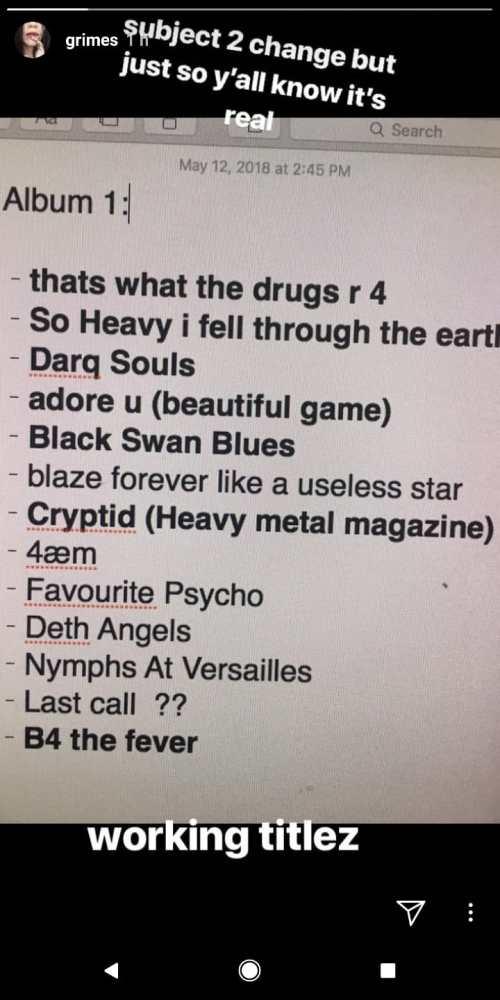 Grims New Album Tracklist