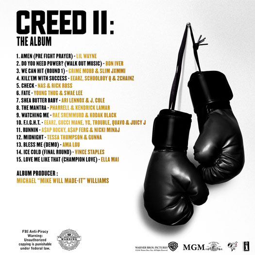 Creed II The Album List and Artwork Stream Listen