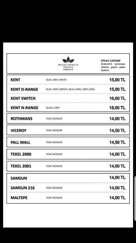 British American Tobacco Ağustos ayı sigara zammı fiyatları 2019