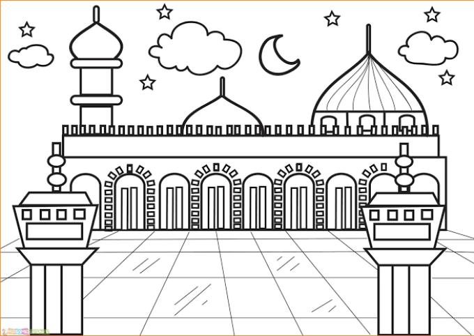 21 Cara Mewarnai Masjid Dengan Pensil Warna Paling Baru Lingkar Png