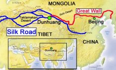 Great Wall and Silk Road map