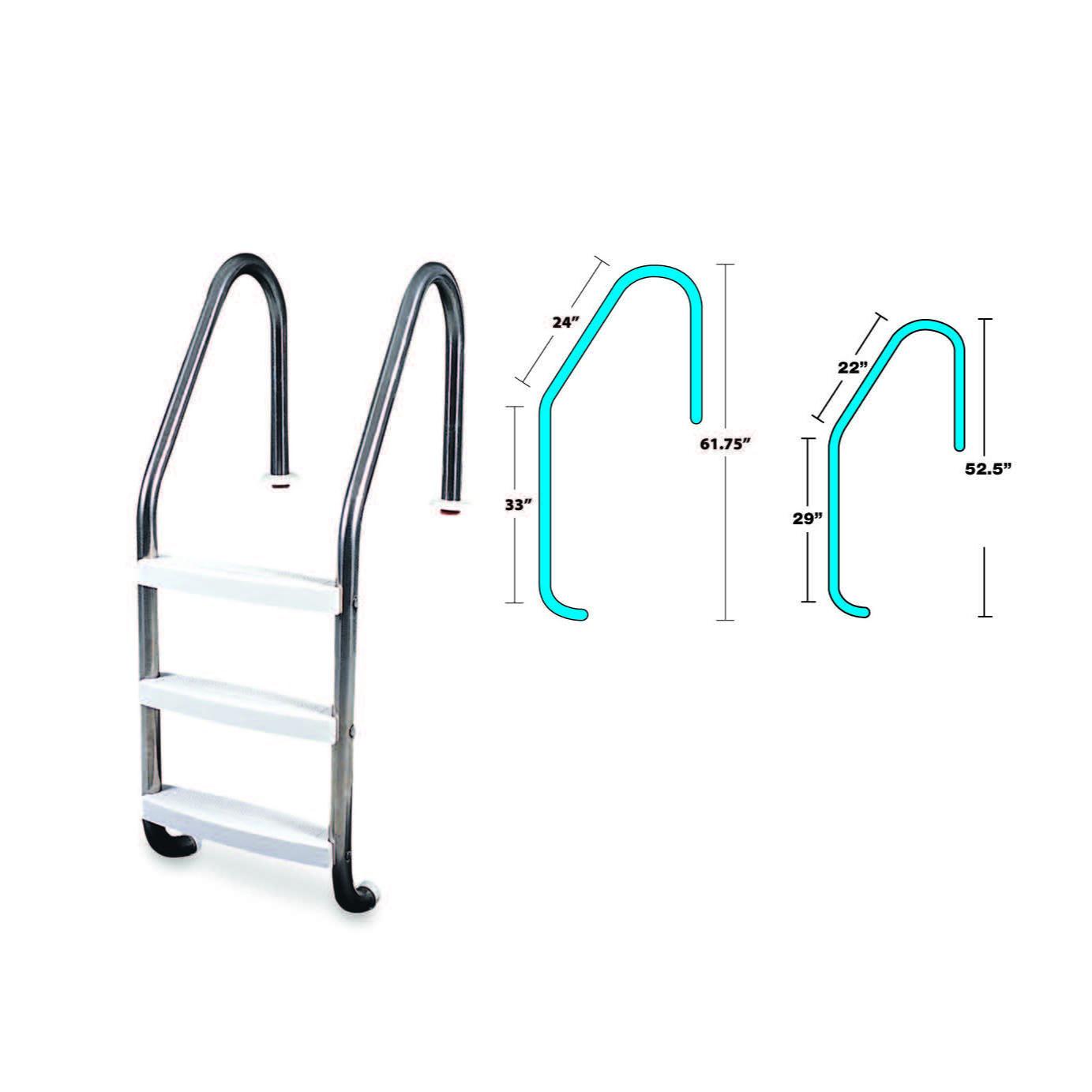 3 Step Inground Stainless Steel Ladder Servco