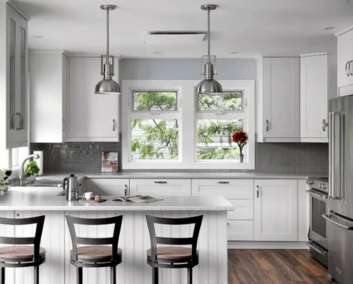 White Rustic Kitchen Cabinets - U Shaped Kitchen
