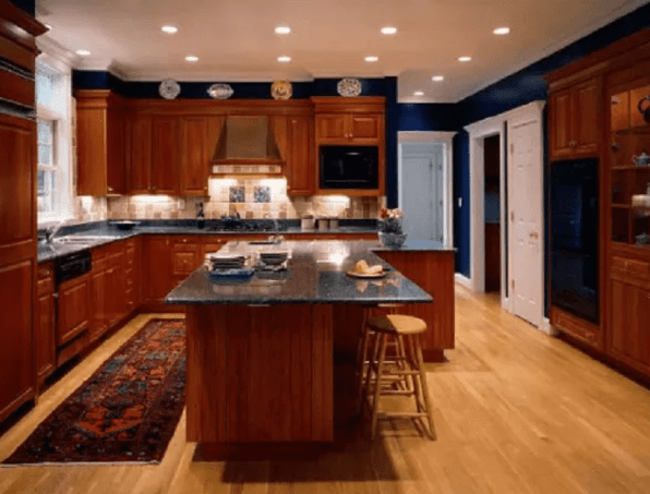 Wood L Shaped Kitchen