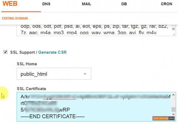copied ssl certificate