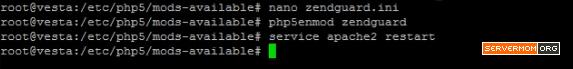 restart apache enable zendguard