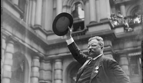 theodore roosevelt black and white waving hat boston 1912