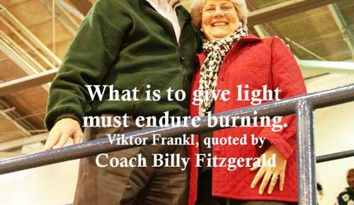 coach billy fitzgerald newman school basketball new orleans louisiana color smiling quotation viktor frankl light must endure burning from serve to lead