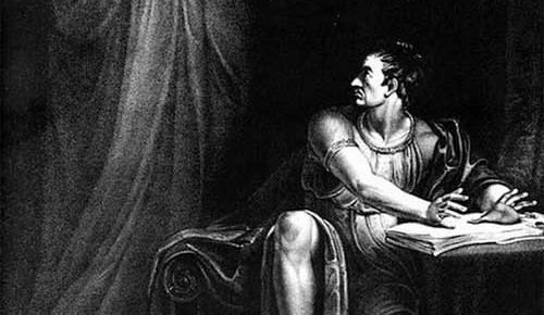 black and white engraving julius caesar ghost brutus haunted william shakespeare
