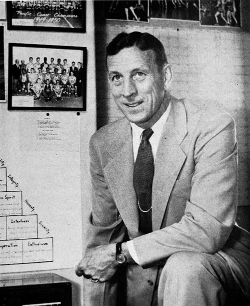 John Wooden USC coach 1960 black and white at www.servetolead.org