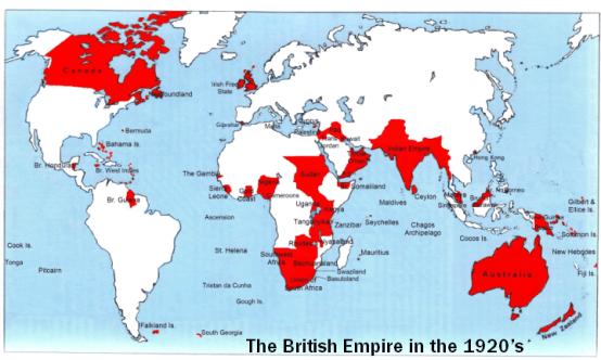 British Empire world map 1920s at www.servetolead.org