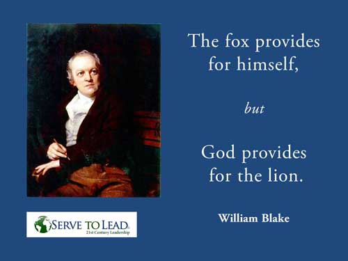 William Blake quotation fox lion www.servetolead.org