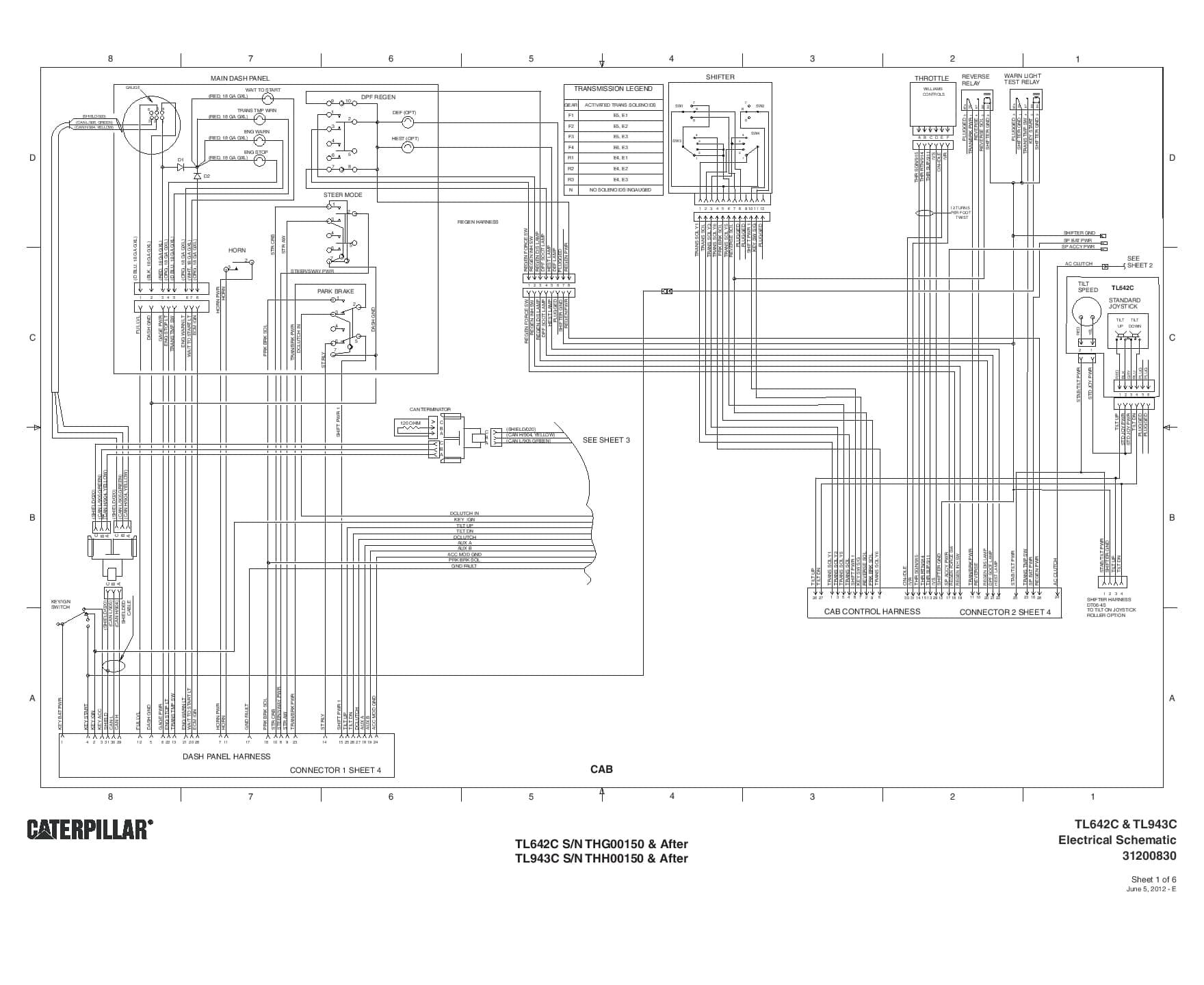 Cat Telehandler Tl642c Tl943c Electrical Schematic