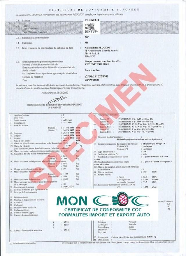 Tout savoir sur le certificat de conformité Peugeot