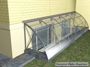 Тип 3Приямок с покрытием монолитным поликарбонатом 6мм прозрачный