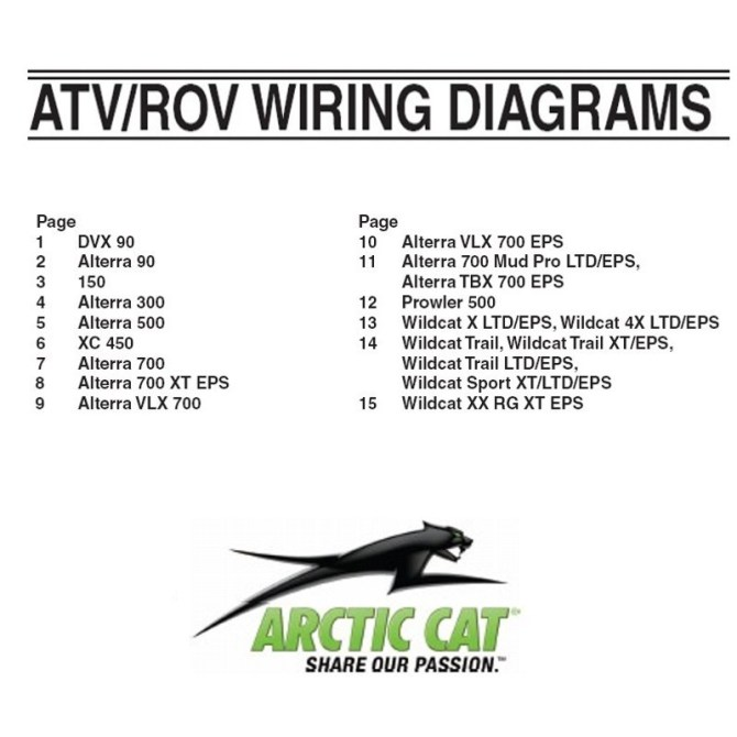 arctic cat 2014 thru 2018 atv and rov  wiring diagrams