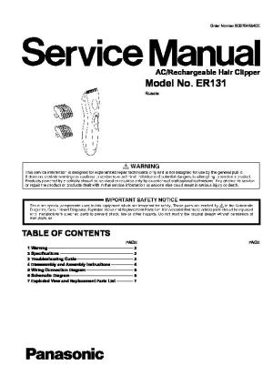 Panasonic ER131, ER131H520 Service Manual  FREE DOWNLOAD