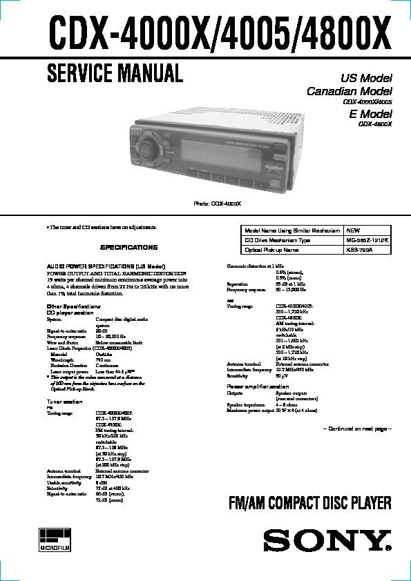 sony cdx4000x cdx4005 cdx4800x service manual  free