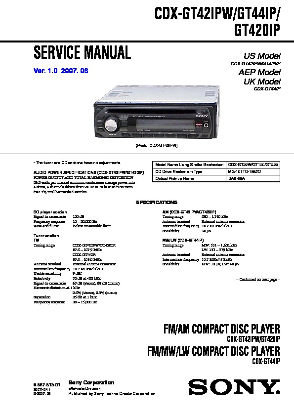 sony car audio service manuals  page 12