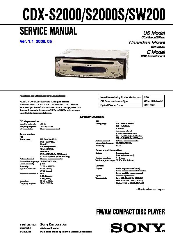 sony cdxs2000 cdxs2000s cdxsw200 service manual  free