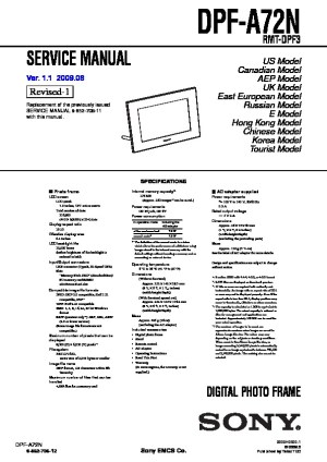 Sony DPFA72 Service Manual  FREE DOWNLOAD