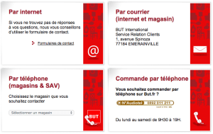 service client but telephone et email