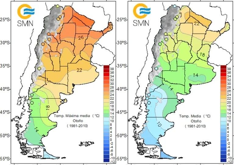 temperaturas, valores, otoño