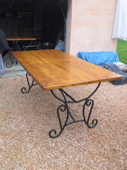 table bois et fer forge allonge