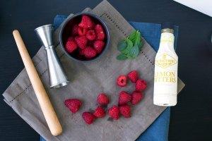 table shot muddled raspberry vegan vodka drink recipe