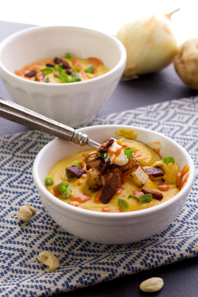 spooding out vegan creamy potato soup recipe