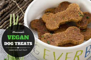 Homemade vegan dog treats made from nut pulp!